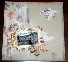 Mixed media backgrd using gesso and stamps , tcw templates, inks and kaisercraft timeless pattern paper