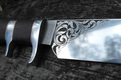 Close up of a knife I am working on, with an engraving by Danae Creswell. Engraved Knife, Metal Projects, Custom Knives, Project Ideas, Leather, Ideas For Projects, Handmade Knives