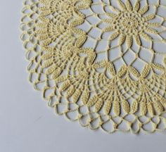 Easter/spring colours crochet doily yellow cotton by kristupiuxs, €25.00