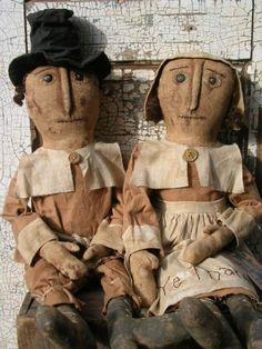 Fall Folky Primitive Pilgrim Doll Set of Two!-SPPO-Be Ye Thankful Pilgrim Pair $0.00