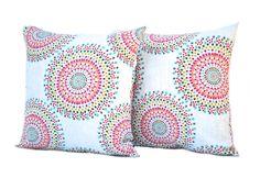 SALE Two medallion pillow covers, cushion, decorative throw pillow, blue pillow, 18x18, pink pillow by ThatDutchGirlPillows on Etsy