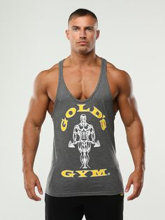 Golds Gym black Stringer Vest in black featuring the Golds Gym muscle joe logo print. Awesome bodybuilding stringer vest with thin shoulder straps and slim fit body. Gold's Gym produce the best bodybuilding clothes! Bodybuilding Clothing, Bodybuilding Training, Golds Gym Clothing, Gym Vests, Gym Logo, Muscular Men, Fine Men, Clothing Company, Apparel Company