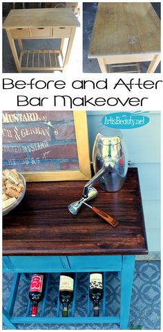 ART IS BEAUTY: Blue Bar Makeover Using Gel Stain and Paint.