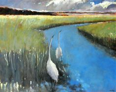 Marsh Birds by Mary Pratt Picasso, Mary Pratt, Landscape Paintings, Abstract Paintings, Acrylic Painting Techniques, Canadian Artists, Artist Painting, Bird Art, Pattern Art