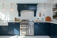 Blue Shaker Kitchen - Bespoke handmade wood kitchens by Maple and Gray Blue Shaker Kitchen, Grey Painted Kitchen, Shaker Kitchen Cabinets, Maple Kitchen, Orange Kitchen, Kitchen Paint, New Kitchen, Kitchen Ideas, Farmhouse Cabinets