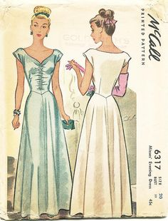 SZ 20/Bust 38  Vintage 1940s Dress Pattern  by ThePatternSource