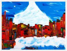 """Mountain Village""..acrylic on stretched canvas..30"" x 40"" x 3""..©Mac Worthington, artist, 2014"