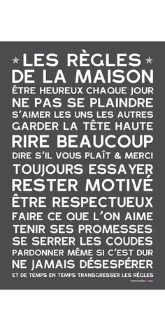 Sticker papier Home Rules Ardoise Keep Calm Quotes, French Quotes, House Rules, Printable Paper, Positive Attitude, Positive Mind, Some Words, Quote Prints, Word Art