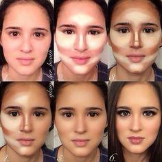 contorno-facial-com-corretivo-e-base #Beauty #contouring #makeup