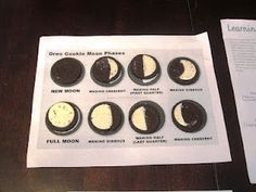 Science Lesson on Moon Phases with oreos, worksheet and link a to what current moon in your area looks like.