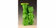 "Doug Herren, Green Vase, Stoneware with bronze glaze, enamel paint, 24"" x 17"" x 16"", 2012"
