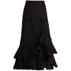 Erdem Cerena ruffled tweed skirt ($2,355) ❤ liked on Polyvore featuring skirts, black, ruffle skirt, erdem skirt, floral knee length skirt, frilled skirt and knee high skirts