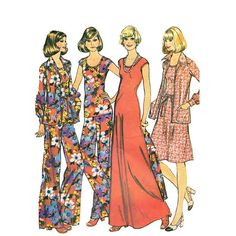 1970s Maxi Dress Pattern McCalls 4250 Mod Wide by JFerrariDesigns, $10.00 --- I made that flowered jumpsuit!