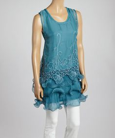 Turquoise Lace Silk-Blend Tiered Tunic