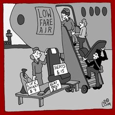 Funny flight announcements with cartoons.