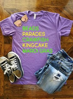 9e8021b71495c Mardi Gras Hilights Shirt / Mardi Gras Shirt / Fat Tuesday Shirt / NOLA/ Mardi  Gras Greats /Beads / King Cake / Parades / Crawfish / Laissez