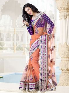 shop this products from here http://www.silkmuseumsurat.in/sarees/gorgeous-peach-net-saree Item #: 2382 Color : Peach Fabric : Net Occasion : Casual, Party Style : Contemporary Work : Embroidered