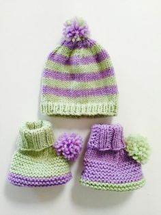 Baby bootees and hat knitting project shared on the LoveKnitting Community