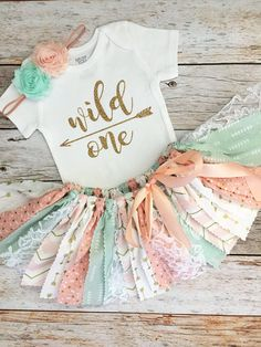 Peach, Mint and Gold Wild One Birthday Outfit with Headband/Baby Girl Peach and Mint Boho Theme First Birthday, Peach and Mint Tutu - Baby girl first birthday - Baby First Birthday Themes, Wild One Birthday Party, Baby Girl Birthday, First Birthday Outfits, First Birthday Parties, Birthday Ideas, Boho Theme, 1st Birthdays, Diy For Girls