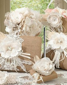 Burlap and lace wedding accessories