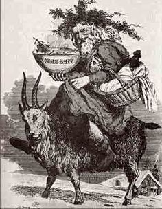 ... depiction of Father Christmas riding on a goat. (Found at Wikimedia)