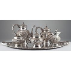 """S. Kirk & Son """"Repousse"""" Sterling Silver Service Sold $6,250"""