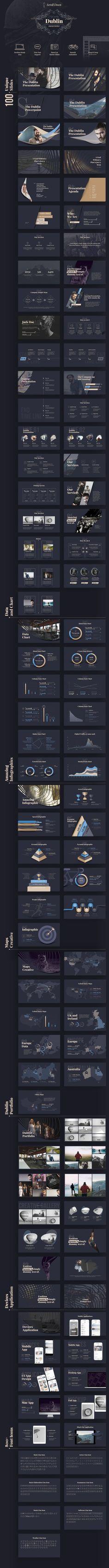 Elegant dark PowerPoint slide presentation template in navy and gold. Very luxurious!