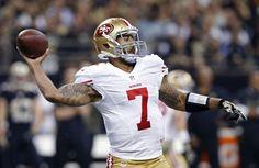 San Francisco 49ers quarterback Colin Kaepernick (7) passes in the first half of an NFL football gam... - (AP Photo/Jonathan Bachman