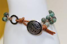 Celtic Bracelet African Jade Leather  Artisan by OHineKnotwork