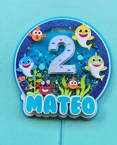 Baby shark inspired shaker topper | Etsy Diy Cake Topper, Birthday Cake Toppers, Paper Crafts Origami, Foam Crafts, Cricut Creations, Baby Shark, Diy Birthday, Birthday Decorations, Handmade