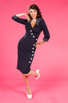 Miss Candyfloss - 50s Curvy Clarissa fitted wrapover button dress in Navy