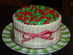 My friends loved the candy barrel cake, so I wanted to try to make a Christmas looking one for a get-together tonight.