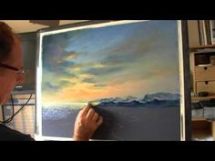 Les Darlow pastels painting skies and mountains - YouTube