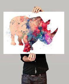 Rhinos Print, Watercolor Wall Art, Watercolor Painting, Illustration Rhinos…