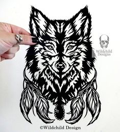 Lyra Wolf Head Face for Personal Use Gothic Paper Cut Template Papercut by Wildchild Designs Spirit Guide Direwolf Canis Lupus Feathers