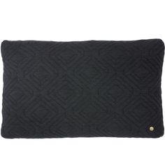 Quilt cushion 60 x 40 cm, dark grey, by Ferm Living.