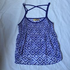 Tank top Spaghetti strap blouse with blue and white diamond geometric pattern. See-through. Recommended wear a white tank underneath. Flowy sheer light material good for summer Princess vera wang Tops Tank Tops