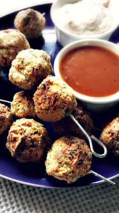 BBQ Cauliflower 'Sausage' Bites with Creamy Dill Dip - from Canned-Time.com  A delicious healthy party snack that wont stick to your hips......