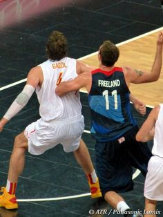 Spain's Pau Gasol of Lakers fame boxes out against Team GB. (ATR / Panasonic Lumix) Add Around The Rings on www.Twitter.com/AroundTheRings & www.Facebook.com/AroundTheRings for the latest info on the #Olympics.