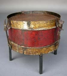 #42-240 19th century tin and leather drum on iron base - Guatemala 14Dx9.5H