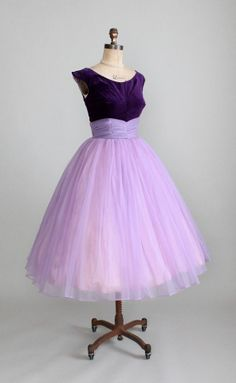 Lush purple crushed velvet bottice and wispy lavender tulle skirt with fitted waist