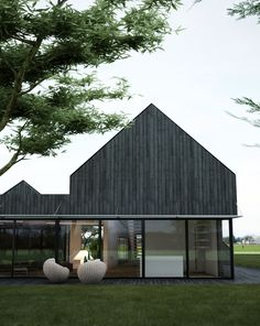 The project is commissioned by a Belgian customer wishing to settle in France in order to live a happy retirement by the sea. The project is divided into 2 parts: one is to renovate an existing farm building to create. Modern Barn House, Timber House, Modern House Design, Residential Architecture, Modern Architecture, Black House Exterior, Passive House, House In The Woods, Exterior Design