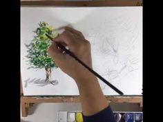 1편 [화방넷 Live] 오늘의 기초 수채화 강의 6탄!미젤로 고체물감 20색 자연물을 이용한 기초수채화 강의!김영신 선생님이 친절하게 알려줘요 - YouTube