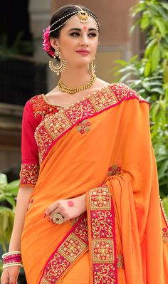 3c90a536f133d Orange Color Silk Wedding Traditional saree Boutique Shop