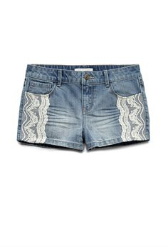 Lace Trim Denim Shorts (Kids) | FOREVER21 girls  Denim and lace #F21Girls #Juniors