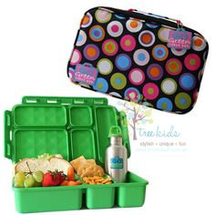 Go Green Lunch Box Set - These Go Green Box Sets are simply awesome.   With an insulated carry bag together with the bento style lunch box that fits snugly inside & a stainless steel drink bottle, this set is not only stylish but very practical too.   The carry bag features a pocket that is the perfect size to hold napkins and utensils, a mesh pocket, a name tag & a white board.   The white board is perfect for adding any messages or reminders for the kids while they are at school. You may…