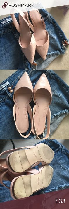 Zara flats in blush Pretty little sling back flats in delicate pink. Worn only a few times.  Comfortable. A few scuffs on bottom of soles. Uppers in excellent condition.  Size 37. Zara Shoes Flats & Loafers