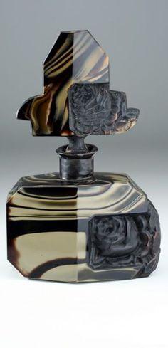 Rare c.1930s Schlevogt Hoffmann Deco Onyx Glass Scent Perfume Bottle