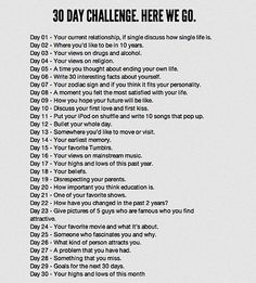 30 Day Journal Challenge. [visual for prompts]