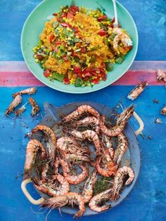 Grilled Cajun prawns with sweet potato mash + a celery, sweetcorn and mixed pepper salad, via Jamie Oliver -- lose the choose in the mash